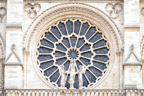 Obraz na plátně PARIS, NOTRE DAME: The western rose window, and architectural details of the catholic cathedral Notre-Dame de Paris