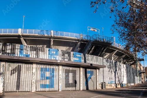 Canvas Print The exterior of the football stadium where Atalanta plays