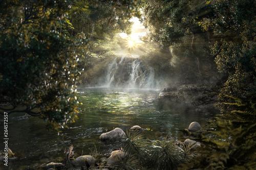 Fototapeta Paradiesischer Dschungel mit Wasserfall