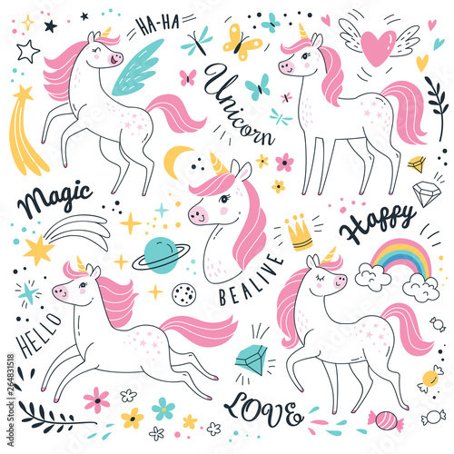 Canvas Print Unicorns collection