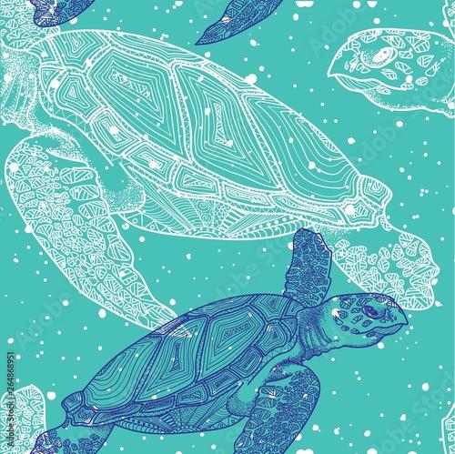 Fotografie, Obraz Seamless pattern with sea turtles