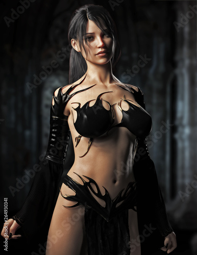 Fotografia Portrait of a sexy fit Caucasian female goth character portraying as a sorceress or witch , appearing from her castle bed chambers