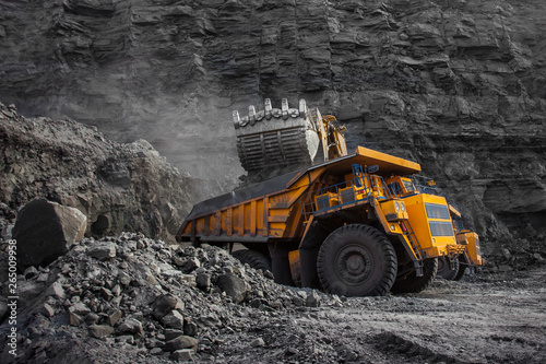 Photo loader bucket on loading coal into a mining truck