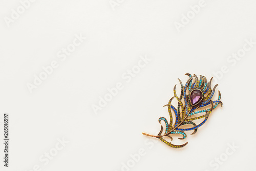 Foto Brooch in the shape of peacock feather on white background