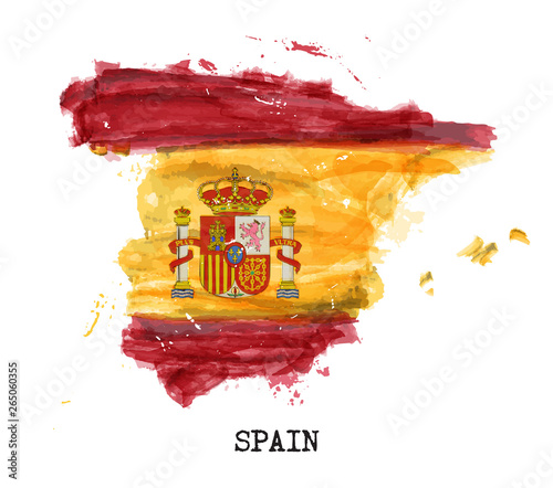 Photo Spain flag watercolor painting design