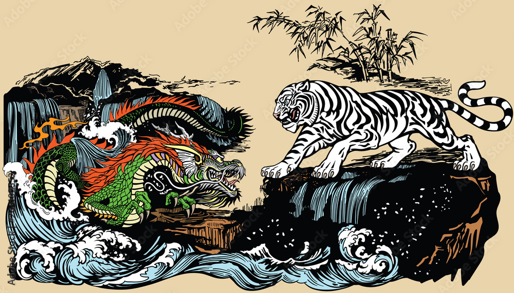 Green Chinese East Asian dragon versus White tiger in the landscape with waterfall,rocks and water waves . Two spiritual creatures in Classical Feng Shui representing Yin Yang. Graphic style vector i <span>plik: #265102552   autor: insima</span>