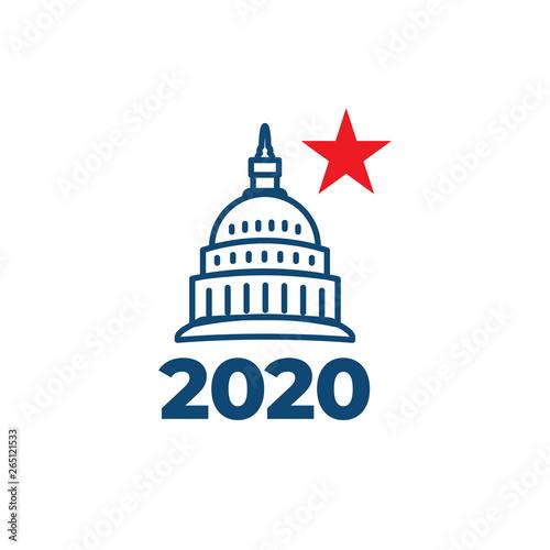 Carta da parati Voting 2020 Icon with Vote, Government, & Patriotic Symbolism and Colors