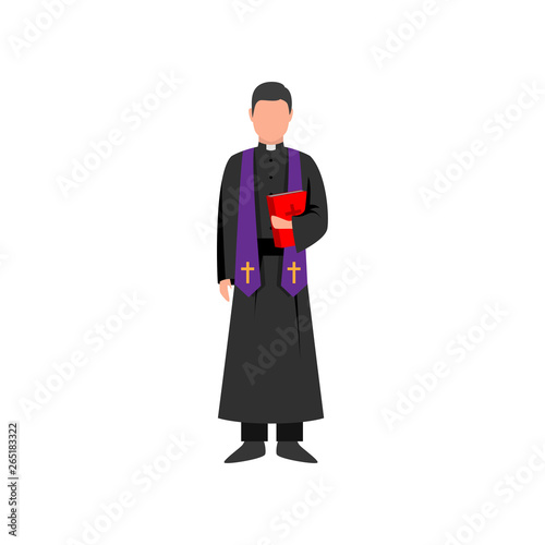 Fototapeta Catholic priest with violet scarf and red bible book