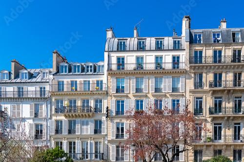 Canvas Print Paris, beautiful buildings in the center, typical parisian facades in the Marais