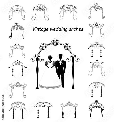Valokuvatapetti Set of Vintage Graphic Chuppah