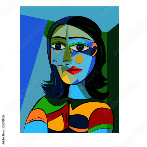 Colorful abstract background, cubism art style, girl portrait