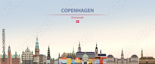 Canvas Print Vector illustration of Copenhagen city skyline on colorful gradient beautiful da