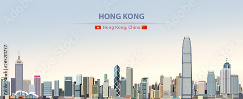 Photo Vector illustration of Hong Kong city skyline on colorful gradient beautiful day