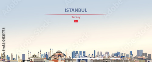 Canvas Print Vector illustration of Istanbul city skyline on colorful gradient beautiful dayt