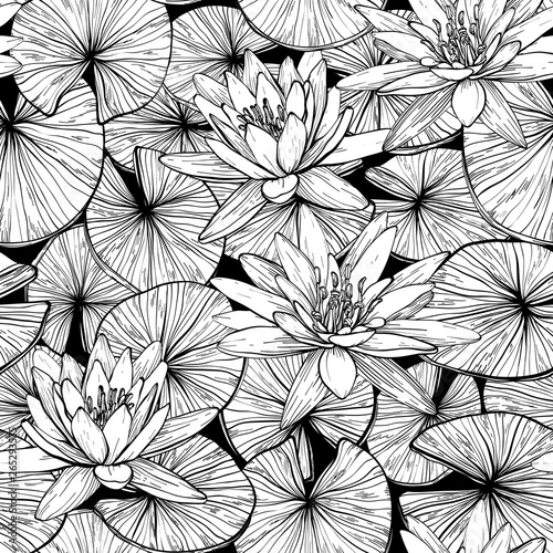 Stampa su Tela Seamless pattern with water lilies. Black and white