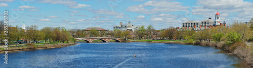 Fotografia Panoramic View of Charles River and Red, Green and Blue Domes of Harvard Univers