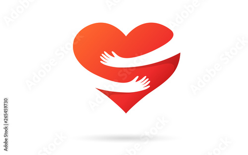 Canvastavla Hugging heart isolated on a white background
