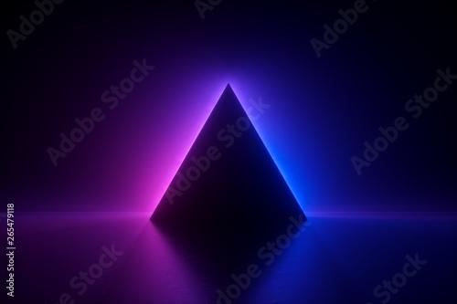 Fotografie, Obraz 3d render, blue pink neon triangular frame, triangle shape, empty space, ultravi