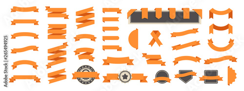 Wall mural Ribbon banner set isolated on a white background. Orange color. Simple modern cute design. Labels, bookmarks and tags. Flat style vector illustration. Big collection.
