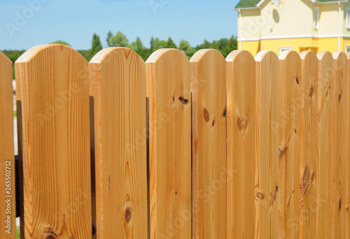Fototapeta Wooden fence detail construction, Wooden house fencing