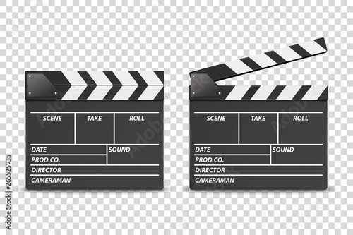 Vector 3d Realistic Blank Closed and Opened Movie Film Clap Board Icon Set Closeup Isolated on Transparent Background Fototapet