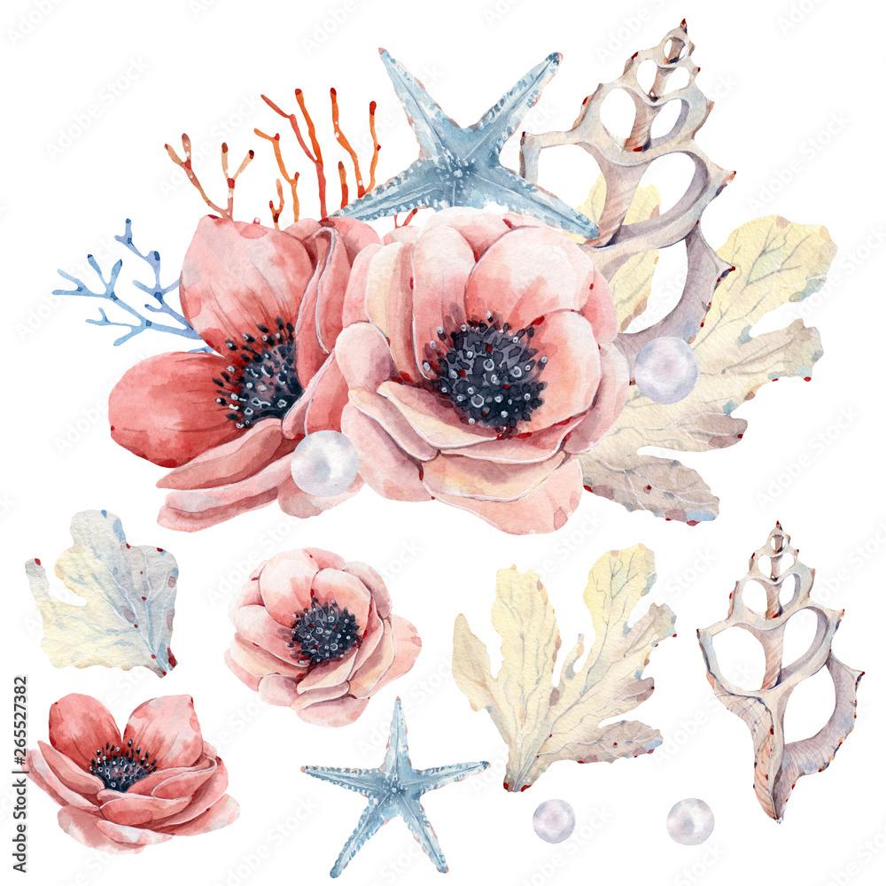 Watercolor nautical collection. <span>plik: #265527382 | autor: Marina</span>