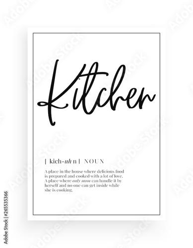 Canvas Print Minimalist Wording Design, Kitchen definition, Wall Decor, Wall Decals Vector, F