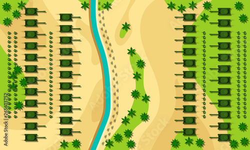 Fotografiet Battlefield cartoon vector illustration top view concept.