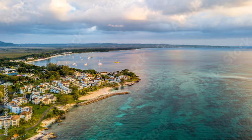 Photo Aerial Images of Jamaica Negril Carribean Beach Sand Ocean Sunset Vacation