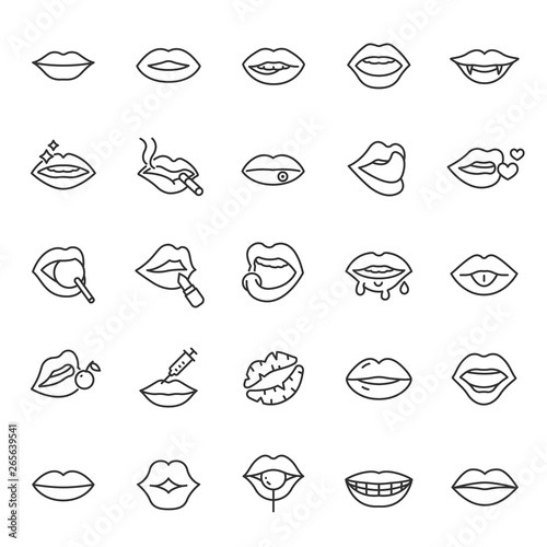 Lips, icon set. mouth, linear icons. Line with editable stroke Fototapeta