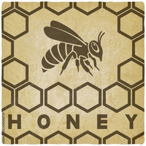 Obraz na płótnie Honey bee on honeycomb vintage background