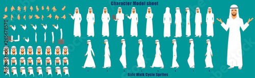 Fotografie, Tablou Arab Businessman Character Model sheet with Walk cycle Animation Sequence