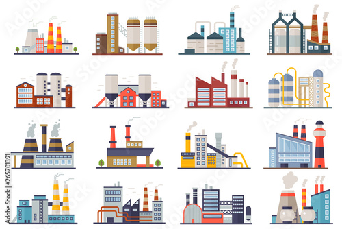 Factory industry manufactory power electricity buildings flat icons set isolated Fototapet