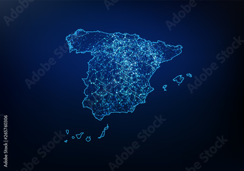 Canvas Print Abstract of spain map network, internet and global connection concept, Wire Frame 3D mesh polygonal network line, design sphere, dot and structure