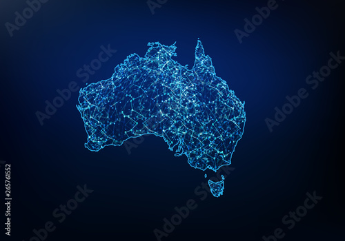 Wallpaper Mural Abstract of australia map network, internet and global connection concept, Wire Frame 3D mesh polygonal network line, design sphere, dot and structure