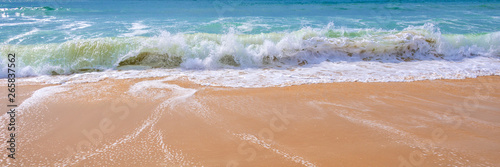 Fotografering Atlantic ocean, panoramic front view of waves on the beach