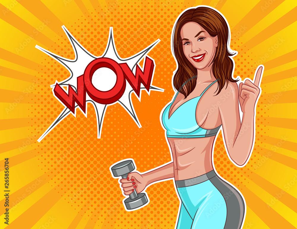 Kolor ilustracji wektorowych w komiksowym stylu pop-art. Sportowa dziewczyna z dumbbells w ich rękach. Szczupła dziewczyna w odzieży sportowej wskazuje palcem na napis wow. Projekt plakatu siłowni <span>plik: #265856704 | autor: yanatamashova</span>