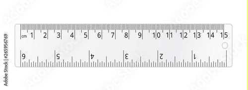 Photo Vector simple transparent school ruler isolated on white background