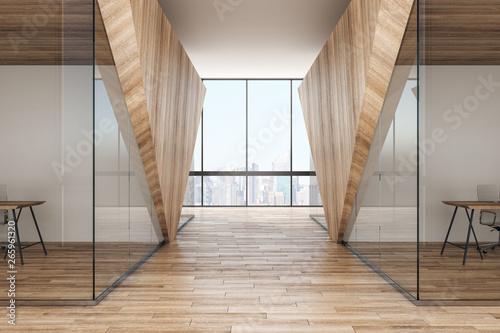 Stampa su Tela Modern wooden corridor