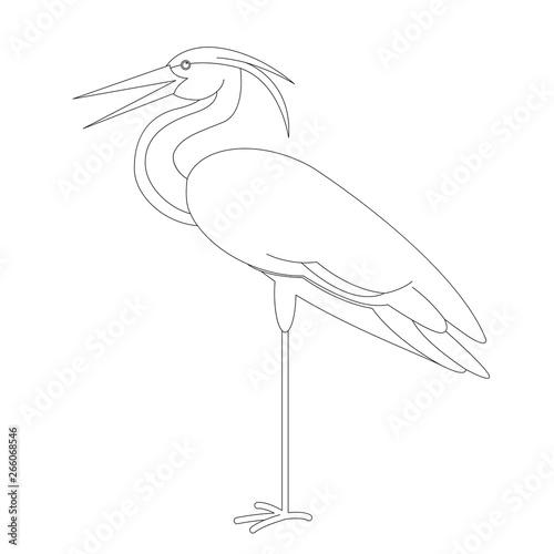 Fotografie, Tablou bird heron ,vector illustration, lining draw,profile