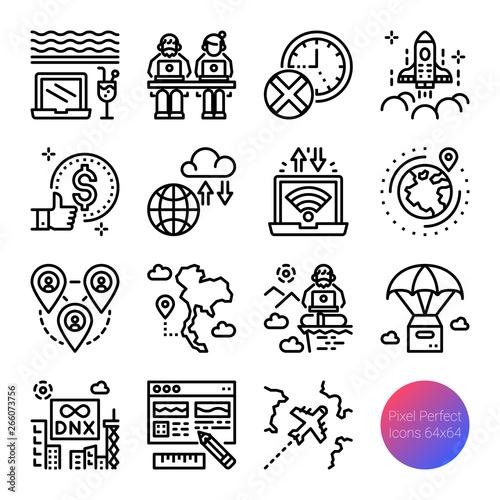 Fototapeta digital nomad outline icons