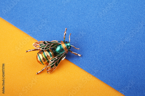 Beautiful brooch in the form of a fly on a blue background Poster Mural XXL