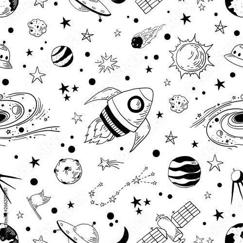 Fotografiet Seamless doodle space pattern