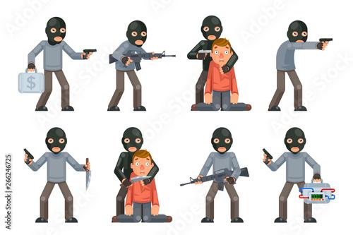 Canvas Print Terror danger risk soldier hostage threat villain terrorist weapon attack crimin