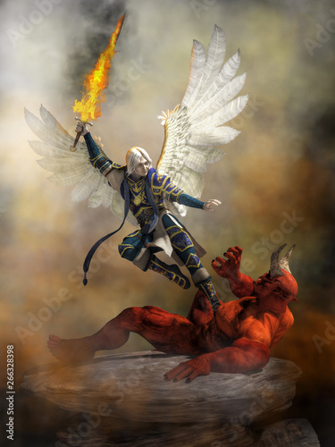 Foto The archangel Michael wearing blue armed and with white feather wings spread holds a flaming sword as he flies into Satan who lays defeated upon a rocky ground raising a hand in defeat