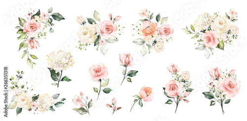 Photo Set watercolor arrangements with roses
