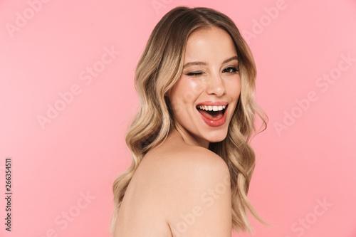 Beautiful sensual topless woman with long blonde hair