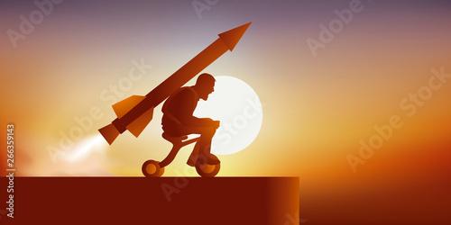 Fotografia Concept de la volonté inaltérable avec un homme motivé qui se lance en direction