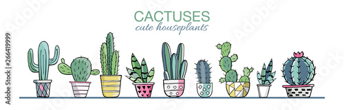 Fotografie, Obraz Vector set of colorful cactus plants in colored pots with outlines