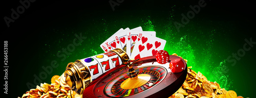 Canvas Print Casino element banner isolation over colorful background, 3D rendering